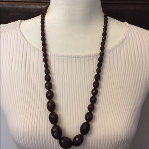 Deep red beaded necklace, no clasps NWOT